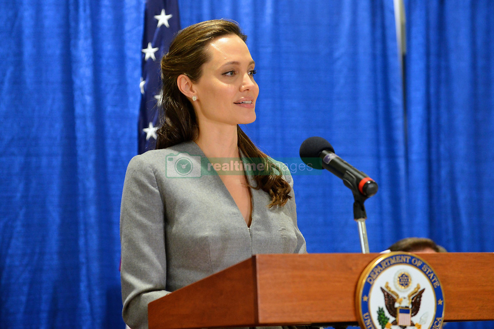 June 20, 2016 - Sterling, VA, United States - UNHCR Special Envoy Angelina Jolie Pitt addresses the audience at an interfaith Iftar reception to mark World Refugee Day at the All Dulles Area Muslim Society June 20, 2016 in Sterling, Virginia. (Credit Image: © Us State Department/Planet Pix via ZUMA Wire)