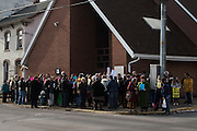 Sunbury, Pennsylvania (December 23, 2016) -- People gathered outside the Sunbury Islamic Center in support of their Muslim neighbors after anti-Muslim, white supremacist fliers were found outside the building earlier in the week.