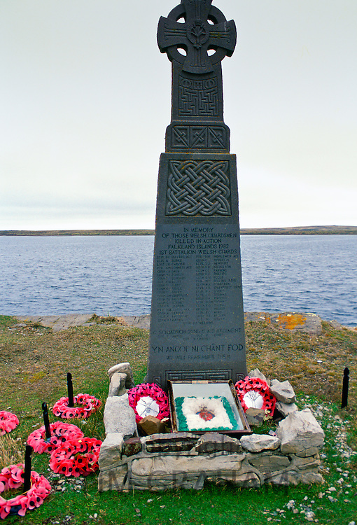 Welsh Guards Memorial - a Welsh cross -  at Fitzroy Cove, Falkland Islands
