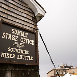 Summit stage office with communication tower in the background