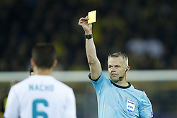 (L-R) Nacho of Real Madrid, referee Bjorn Kuipers during the UEFA Champions League group H match between Borussia Dortmund and Real Madrid on September 26, 2017 at the Signal Iduna Park stadium in Dortmund, Germany.
