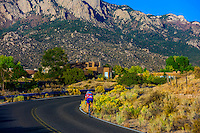 Bicyclists riding on Simms Park Road, Albuquerque, New Mexico USA