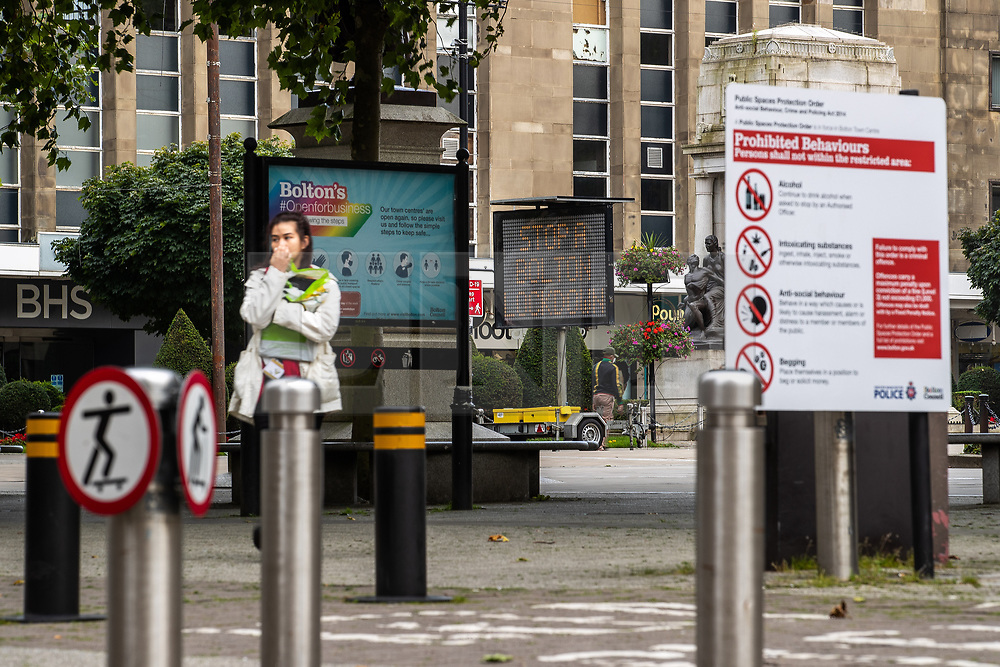 "© Licensed to London News Pictures . 16/09/2020. Bolton , UK . GV of Victoria Square in Bolton Town Centre with signs cautioning visitors to "" Stop a Bolton Lockdown "" , that ""Bolton is open for business "" that skateboarding is prohibited and that details locally prohibited behaviours . The number of recorded cases of Coronavirus has gone over 200 in a single day , in Bolton . Photo credit : Joel Goodman/LNP"
