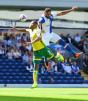 Blackburn Rovers' Liam Feeney vies for possession with Norwich City's Martin Olsson<br /> <br /> Photographer Chris Vaughan/CameraSport<br /> <br /> Football - The EFL Sky Bet Championship - Blackburn Rovers v Norwich City - Saturday 6th August 2016 - Ewood Park - Blackburn<br /> <br /> World Copyright © 2016 CameraSport. All rights reserved. 43 Linden Ave. Countesthorpe. Leicester. England. LE8 5PG - Tel: +44 (0) 116 277 4147 - admin@camerasport.com - www.camerasport.com