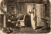 Awful Apparition! Householder reading 'The Woman in White', the sensation novel by Wilkie Collins, is startled by the appearance of his wife in her nightgown.  Cartoon by John Leech, a friend of Collins, from 'Punch' (London, 6 April 1861).