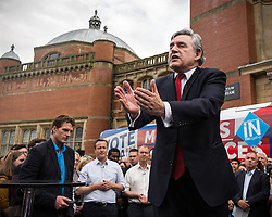 © Licensed to London News Pictures . 22/06/2016 . Birmingham , UK . GORDON BROWN speaks whilst DAVID CAMERON and TIM FARRON listen . British Conservative Party Prime Minister David Cameron , Tim Farron and Paddy Ashdown from the Liberal Democrat Party and Harriet Harman from the Labour Party , attend a joint rally at Birmingham University in support of the REMAIN in EU campaign , ahead of referendum polling opening tomorrow morning (23rd June 2016) . Photo credit: Joel Goodman/LNP
