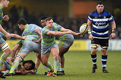Sam Stuart of Newcastle Falcons passes the ball - Mandatory byline: Patrick Khachfe/JMP - 07966 386802 - 27/01/2018 - RUGBY UNION - The Recreation Ground - Bath, England - Bath Rugby v Newcastle Falcons - Anglo-Welsh Cup