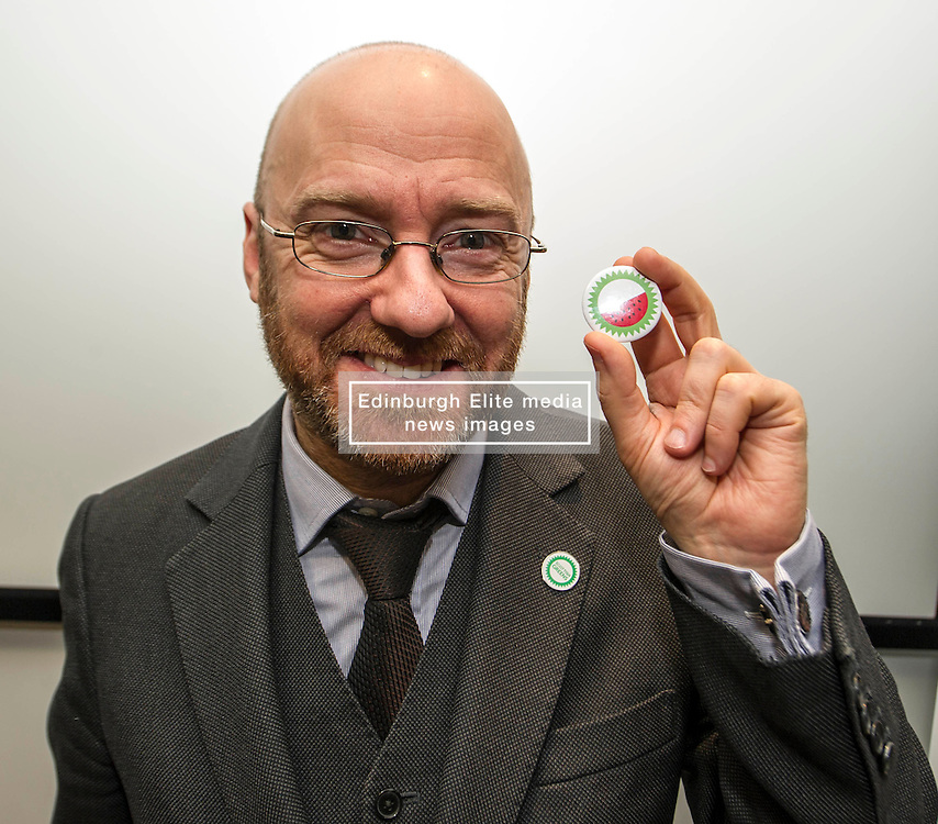 """Pictured: Patrick Harvie shows off the new Green Party badge, which depicts a watermelon, in response to Murdo Fraser referring to the party as ''lentil-eating, sandal wearing, watermelons"""".  Who said the Greens do not have a sense of humour!<br /> <br /> Green Party co-convener Patrick Harvie delivered an address to Reform Scotland. This is the second event, organised by Shepherd and Wedderburn, in the think tank's series of speeches on the Scottish Government's tax and spending plans.<br /> <br /> Ger Harley 