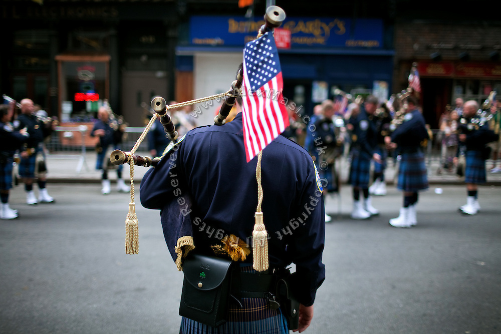 Bagpipes are being played in Lower Manhattan, New York, USA, on the10th anniversary of the 9/11 attacks on the Word Trade Centre.