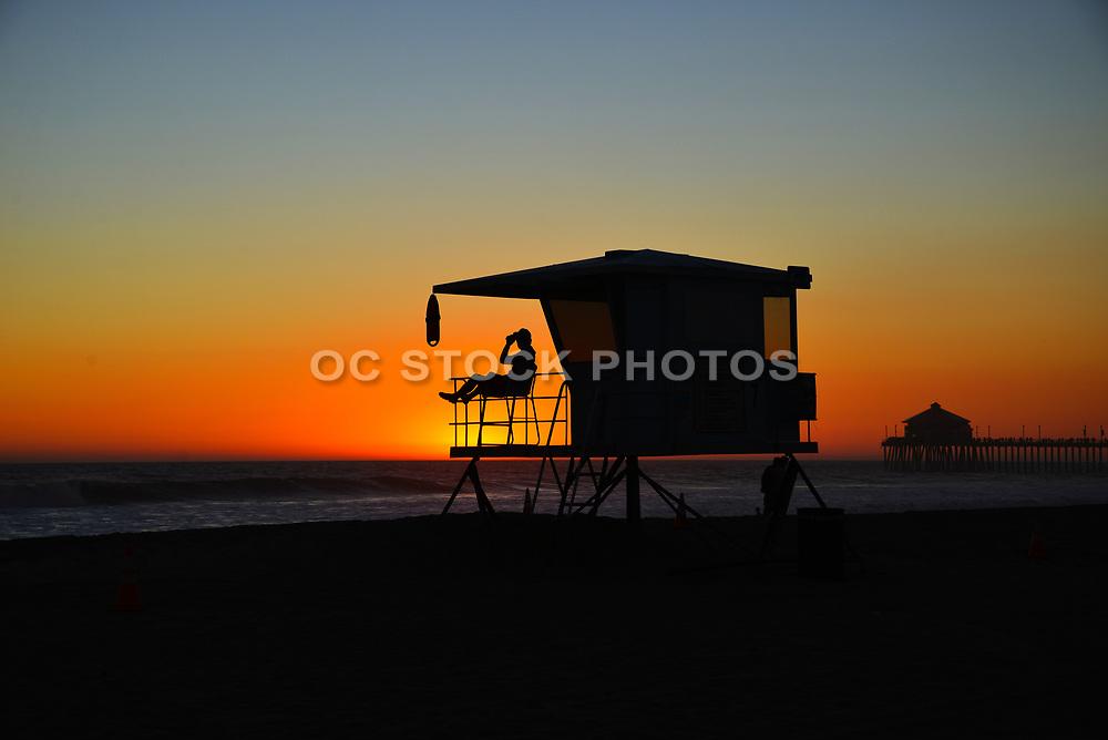 Lifeguard on Duty at Sunset Huntington Beach California