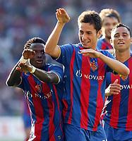 Fotball<br /> Sveits Super League 2009/2010<br /> Foto: EQ Images/Digitalsport<br /> NORWAY ONLY<br /> <br /> Basel Samuel Inkoom und Serka Sahin jubeln ueber das Tor zum 1:0