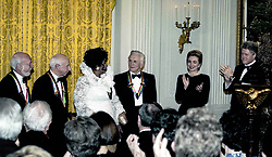 December 4, 1994 - Washington, District of Columbia, U.S.: Kennedy Center Honors reception at the White House hosted by the US President BILL CLINTON and FIrst Lady HILLARY CLINTON. The honorees L-R: HAROLD PRINCE, MORTON GOULD, ARETHA FRANKLIN and KIRK DOUGLAS. All eyes were on Aretha as President leads the crowd in applause for her acheivements. (Credit Image: © Mark Reinstein/ZUMA Wire)