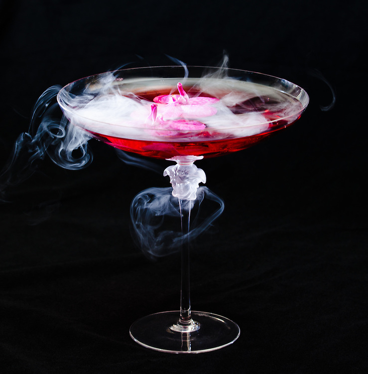 Liquid nitrogen cocktail at The Villa by Barton G in the former Versace Mansion on Miami  Beach's celebrated Ocean Drive.
