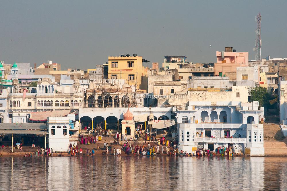 A temple on Pushkar Lake, Pushkar, India.