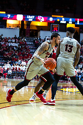 NORMAL, IL - February 26: Rey Idowu sets the pick for Ricky Torres during a college basketball game between the ISU Redbirds and the Bradley Braves on February 26 2020 at Redbird Arena in Normal, IL. (Photo by Alan Look)