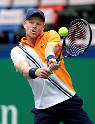 SHANGHAI, Oct. 12, 2018  Kyle Edmund of Britain hits a return during the men's singles quarterfinal match against Alexander Zverev of Germany at the Shanghai Masters tennis tournament in Shanghai, east China on Oct. 11, 2018. (Credit Image: © Fan Jun/Xinhua via ZUMA Wire)