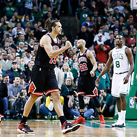 18 January 2013: Chicago Bulls center Joakim Noah (13) celebrates during the Chicago Bulls 100-99 overtime victory over the Boston Celtics at the TD Garden, Boston, Massachusetts, USA.