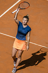 May 9, 2017 - Madrid, Madrid, Spain - SIMONA HALEP (ROU) acknowledges the crowd after her victory over  Roberta Vinci (ITA) in round 2 of the 'Mutua Madrid Open' 2017. Halep won 6:3, 2:6, 7:6 (Credit Image: © Matthias Oesterle via ZUMA Wire)