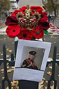 A memorial to a soldier named Gary Golbey wreaths lie after Remembrance Sunday at the Cenotaph in Londons Whitehall, on 12th November 2019, in London, England. A Gulf War veteran who developed a brain tumour but went back on active service had died, aged 42. Colour Sergeant Gary Golbey, originally from Kidsgrove, was taken ill in 2005 when he was part way through his second tour of service in Iraq. But he fought back from his illness to return to the army while in remission. The champion Army boxer spent more than two decades with the Staffords – now 3 Mercian – and saw active service in Northern Ireland, Bosnia and Iraq, where he completed two tours of duty.