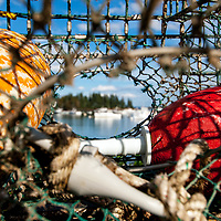 Traps, bouys and tools of the lobster trade in Owl's Head Harbor, Maine.
