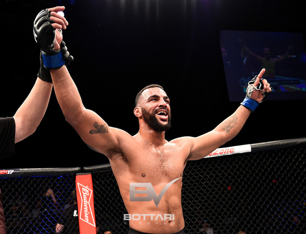 LAS VEGAS, NV - DECEMBER 03:  Devin Clark celebrates his unanimous-decision victory over Josh Stansbury in their light heavyweight bout during The Ultimate Fighter Finale event inside the Pearl concert theater at the Palms Resort & Casino on December 3, 2016 in Las Vegas, Nevada. (Photo by Jeff Bottari/Zuffa LLC/Zuffa LLC via Getty Images)