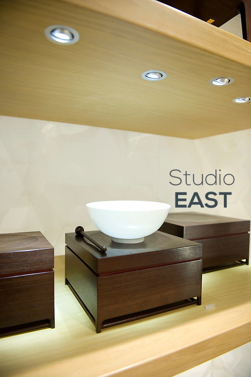 An 'egg-shell' porcelain bowl priced at 10,000 Yuans with the box (1,142 euros) stands in Shangxia first store, in Shanghai, China, on September 15, 2010. Shangxia is a Chinese luxury brand launched by Hermes. Shangxia is owned by Hermes and has its own design team. It will make and sell clothes and accessories based on Chinese styles and traditional know-how. If customer reaction proves positive, Hermes plans to open a Shangxia store in Paris next year and gradually roll out worldwide. Photo by Lucas Schifres/Pictobank