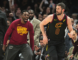 April 29, 2018 - Cleveland, OH, USA - Cleveland Cavaliers center Kevin Love is praised by teammate Jeff Green from the bench after Love scored a three-point shot against the Indiana Pacers in the first quarter of Game 7 during the Eastern Conference First Round series on Sunday, April 29, 2018 at Quicken Loans Arena in Cleveland, Ohio. The Cavs won the game, 105-101. (Credit Image: © Leah Klafczynski/TNS via ZUMA Wire)