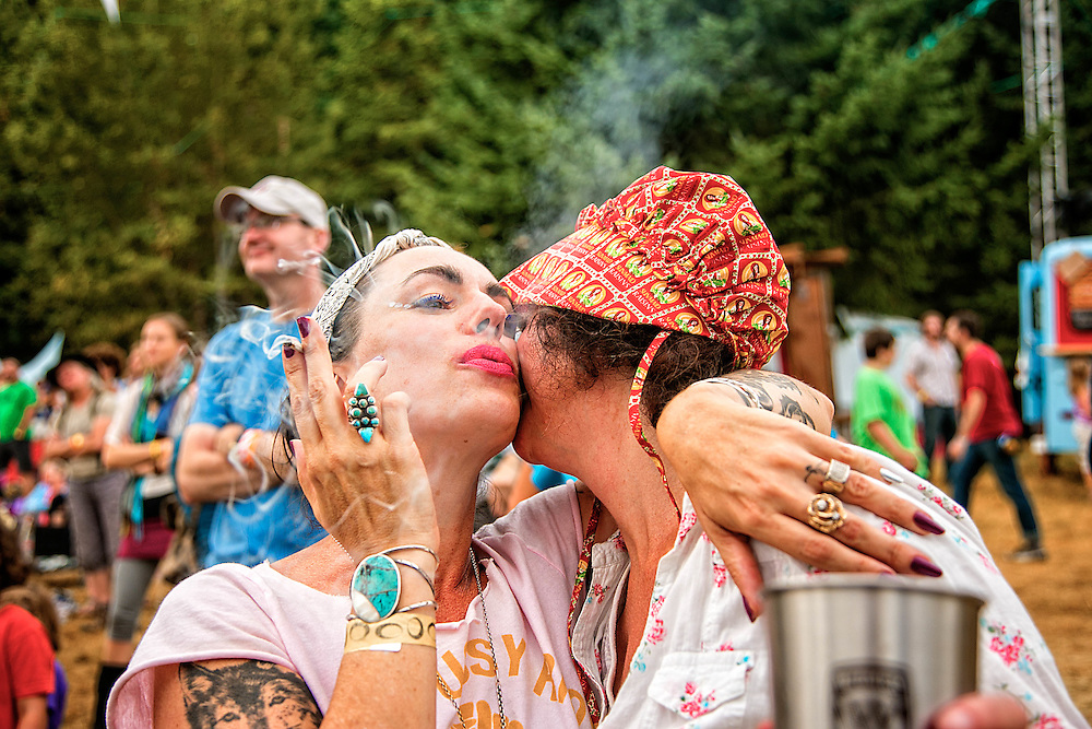 Festivalgoers Snowsy and Stasi share a moment at Pickathon 2013 at Pendarvis Farm just outside of Portland, OR on Aug 2, 2013. Photo Credit: Michael Orlosky
