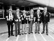 The Irish Federation of Sea Anglers international team arrive at Dublin Airport, having come third in the World Championships at Heligenhafen, West Germany. (l–r:) Michael Butler, Dunmore East Sea Angling Club; Alan McKeown, Ballymena Sea Angling Club (joint winner of the heaviest fish award); Willie McGonigle, Enniscrone Sea Angling Club (tenth in Individual Contest); Ted Geary, Monkstown Sea Angling Club; Jack Johnson, Celtic Sea Angling Club; and Padraic Conlon, Westport Centurion Sea Angling Club.<br /> 30 June 1981