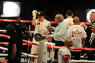 featherweight WBC world title eliminator.<br /> Lee Selby of Wales celebrates after winning v Romulo Koasicha of Mexico'The second coming'  boxing event at the Motorpoint Arena in Cardiff, South Wales on Sat 17th May 2014. <br /> pic by Andrew Orchard, Andrew Orchard sports photography.