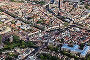 Nederland, Zuid-Holland, Leiden, 15-07-2012; binnenstad Leiden met in de voorgrond  Museum Volkenkunde en molen De Valk (li). In het midden brug naar de  Turfmarkt en naar links water van Oude Vest en Oude Singel. Boven het midden  Galgewater (re) overgaand in Apothekersdijk en Stille Rijn..Overview old town of Leiden. Ethnology  museum  (bottom right), old mill de Valk (Falcon)..luchtfoto (toeslag), aerial photo (additional fee required).foto/photo Siebe Swart