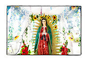 SHOT 2/22/19 11:46:02 AM - Rosary beads hang from a statue of Our Lady of Guadalupe inside an all-glass capilla in the small town of Loché in the the Yucatan Peninsula of Mexico. Our Lady of Guadalupe is a powerful and ubiquitous symbol of Mexican identity because some guess that Our Lady of Guadalupe's skin tone matches that of Mexico's indigenous population: light brown. She is as much revered for her striking similarity to the vanquished native Mexican population as she is for being the mother of God. The capillas are often dedicated to certain patron saints or the memory of someone that has died at or near the site. Common throughout the backroads and secondary highways of Mexico they often contain prayer candles, pictures, personal artifacts or handwritten notes. (Photo by Marc Piscotty / © 2019)