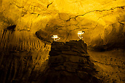 CCTV cameras in Dan yr Ogof Cave in the National Showcaves Centre for Wales on 21st February 2019 in Abercrave, Swansea, Wales, United Kingdom.  This is a 17-kilometer cave system in South Wales.