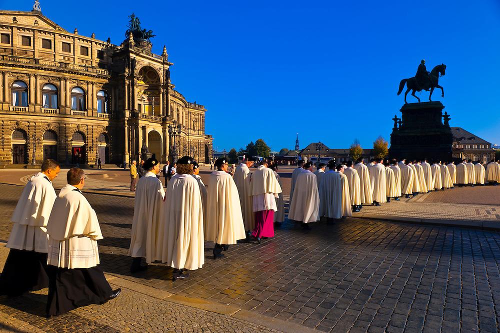 Procession of the Knights of Jerusalem walking through Theaterplatz, Semper Opera House, Theaterplatz, Dresden, Saxony, Germany