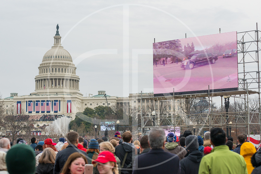 Washington DC, United States - The Presidential motorcade arrives at the US Capitol, prior to the inauguration of Donald J. Trump.