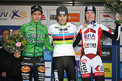 February 10, 2018 - Lille, BELGIUM - Dutch Maud Kaptheijns, Belgian world champion Sanne Cant and Dutch Annemarie Worst pictured on the podium after the women's elite race of the Krawatencross cyclocross in Lille, the eighth and last stage in the DVV Verzekeringen Trofee Cyclocross competition, Saturday 10 February 2018. BELGA PHOTO DAVID STOCKMAN (Credit Image: © David Stockman/Belga via ZUMA Press)