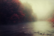 River Wupper on a misty autumn morning - long exposure photograph with treated colours and processed with textures