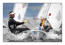 Tom Britz, GBR-193725.Day 2 brought Easterly changeable conditions for the Laser Radial World Championships, taking place at Largs, Scotland GBR. ..118 Women from 35 different nations compete in the Olympic Women's Laser Radial fleet and 104 Men from 30 different nations. .All three 2008 Women's Laser Radial Olympic Medallists are competing. .The Laser Radial World Championships take place every year. This is the first time they have been held in Scotland and are part of the initiaitve to bring key world class events to Britain in the lead up to the 2012 Olympic Games. .The Laser is the world's most popular singlehanded sailing dinghy and is sailed and raced worldwide. ..Further media information from .laserworlds@gmail.com.event press officer mobile +44 7775 671973  and +44 1475 675129 .