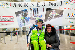 Jernej Slivnik with mag. Lidija Dornig, headmaster of Gimnazija Jesenice prior to the departure of Slovenian Paralympic team for Pyeongchang 2018 Winter Paralympics, on March 3, 2018 in Letalisce Jozeta Pucnika, Brnik, Slovenia. Photo by Vid Ponikvar / Sportida