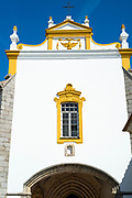 Pousada Convento de Evora, upmarket elegant hotel painted traditional yellow and white, in historic centre of Evora, Portugal