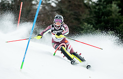 """Nathalie Eklund (SWE) competes during 1st Run of FIS Alpine Ski World Cup 2017/18 Ladies' Slalom race named """"Snow Queen Trophy 2018"""", on January 3, 2018 in Course Crveni Spust at Sljeme hill, Zagreb, Croatia. Photo by Vid Ponikvar / Sportida"""