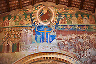 Romanesque interior with 14th century Frescoes of the Last Judgement attributed to Gregory and Donato D'Arezzo , Basilica Church of Santa Maria Maggiore, Tuscania .<br /> <br /> Visit our ITALY PHOTO COLLECTION for more   photos of Italy to download or buy as prints https://funkystock.photoshelter.com/gallery-collection/2b-Pictures-Images-of-Italy-Photos-of-Italian-Historic-Landmark-Sites/C0000qxA2zGFjd_k .<br /> <br /> Visit our MEDIEVAL PHOTO COLLECTIONS for more   photos  to download or buy as prints https://funkystock.photoshelter.com/gallery-collection/Medieval-Middle-Ages-Historic-Places-Arcaeological-Sites-Pictures-Images-of/C0000B5ZA54_WD0s