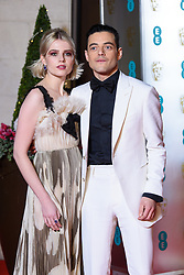Best Actor Rami Malek and Lucy Boynton attending the after party for the 72nd British Academy Film Awards, at the Grosvenor House Hotel in central London. Picture date: Sunday February 10th, 2019. Photo credit should read: Matt Crossick/ EMPICS Entertainment.