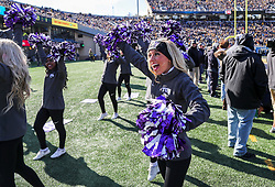 Nov 10, 2018; Morgantown, WV, USA; A TCU Horned Frogs cheerleader performs during the first quarter against the West Virginia Mountaineers at Mountaineer Field at Milan Puskar Stadium. Mandatory Credit: Ben Queen-USA TODAY Sports