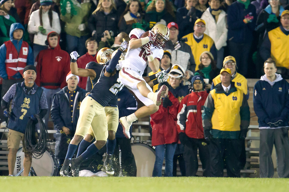 Boston College wide receiver Bobby Swigert (#10) scores fourth quarter touchdown on pass from quarterback Chase Rettig (#11-not pictured) during of NCAA football game between Notre Dame and Boston College.  The Notre Dame Fighting Irish defeated the Boston College Eagles 16-14 in game at Notre Dame Stadium in South Bend, Indiana.