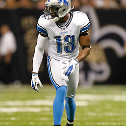 December 4, 2011; New Orleans, LA, USA; Detroit Lions wide receiver Nate Burleson (13) against the Detroit Lions during a game at the Mercedes-Benz Superdome. The Saints defeated the Lions 31-17. Mandatory Credit: Derick E. Hingle-US PRESSWIRE