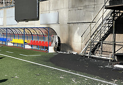 The dug out damaged by a fire at the Estadi Nacional, Andorra. Preparations for England's World Cup qualifier in Andorra were hit by a fire at the Estadi Nacional. The television gantry at the side of the 3,300-seater stadium was engulfed in flames on Friday afternoon, three hours after England had trained there. Picture date: Friday October 8, 2021.
