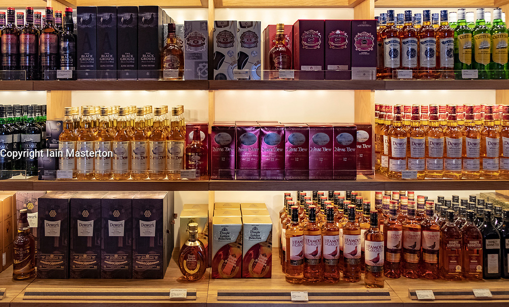 Scotch whisky for sale in shop at the Scotch Whisky Experience visitor centre on the Royal Mile in Edinburgh, Scotland, UK