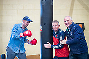NO FEE PICTURES<br /> 22/7/18 Actor Liam Neeson, who is currently fliming in Northern Ireland, stopped by O'Hanlon Park Amateur Boxing Club, Dundalk today, much to the surprise and delight of local community members. The Club/Community Hall is open to members of the community of all ages - children from seven years of age right through to adults who have reached retirement age. Neeson is a long time friend of Hotelier John Fitzpatrick who has been involved with the boxing club since 2011 when he made a donation to the Club when he participated in The Secret Millionaire show which aired on RTE 1.   Following the broadcast of the programme, John helped raise more than €425,000 through the Eithne & Paddy Fitzpatrick Memorial Fund and the Boxing Club raised over €56,000 including a grant, to enable the Club move to the new building. Pictured are Liam Neeson with Paul Taaffe and John Fitzpatrick. Picture:Arthur Carron