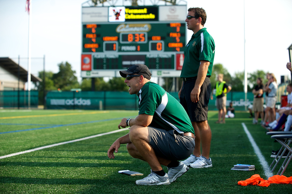 Catamounts head coach Jesse Cormier and Catamounts assistant coach Rob Dow watch the action on the field during the men's soccer game between the Central Connecticut State University Blue Devils and the Vermont Catamounts at Virtue Field on Friday afternoon September 7, 2012 in Burlington, Vermont.